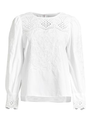 La Vie Rebecca Taylor Tops Embroidered Poplin Top