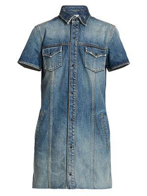 Saint Laurent Dresses Short Sleeve Denim Mini Dress