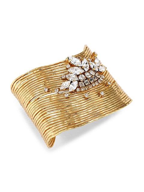 Wave Stress 24K Goldplated & Crystal Cuff Bracelet