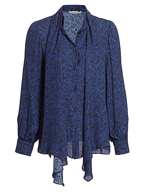 Tammy Removable Bow Printed Blouse