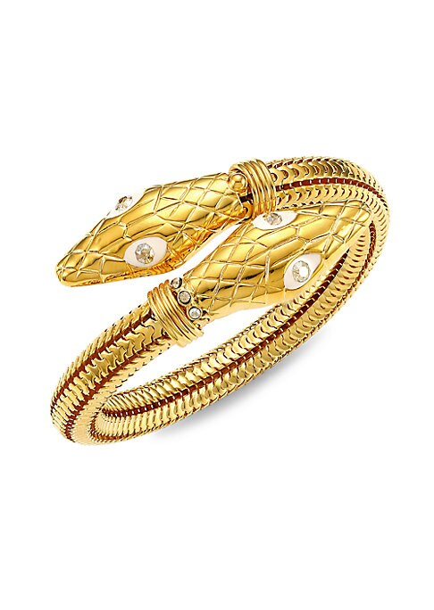 Gleaming golden wrap bracelet band with scale-effect design and Swarovski crystal accents. Swarovski crystal 24K goldplated Slip on Made in France SIZE Diameter, about 1.7\\\