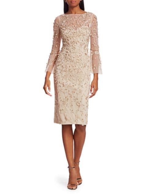 Theia Beaded Flounce-Sleeve Sheath Dress | SaksFifthAvenue