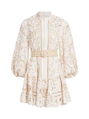 E Embroidered Lace Mini Dress