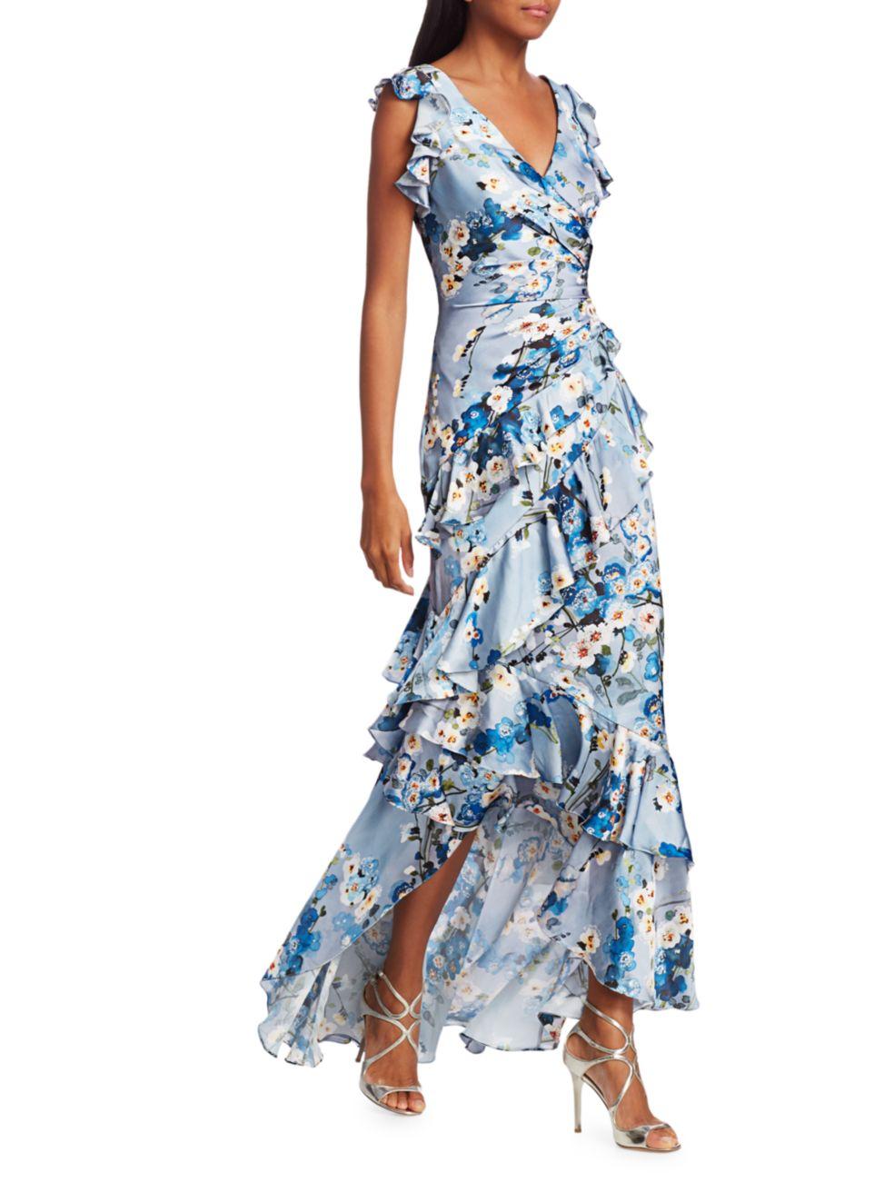 Theia Printed V-Neck Ruffle Gown | SaksFifthAvenue