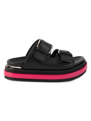 Alexander Mcqueen Flats Leather Flatform Sandals