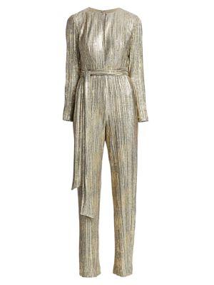 Badgley Mischka Suits Pleated Foil Jumpsuit