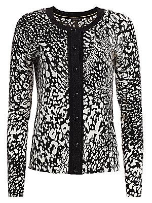 Sivan Abstract Leopard Print Cardigan by Escada