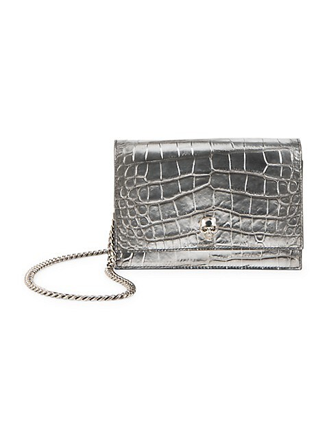 The Small Skull Metallic Croc-Embossed Leather Bag