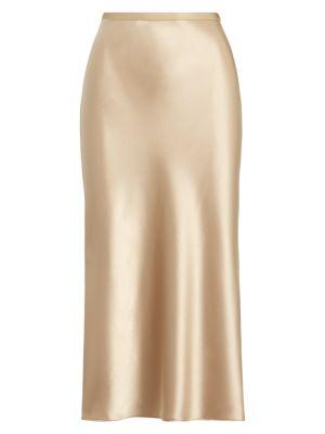 Polo Ralph Lauren Satin A-line Skirt In Khaki