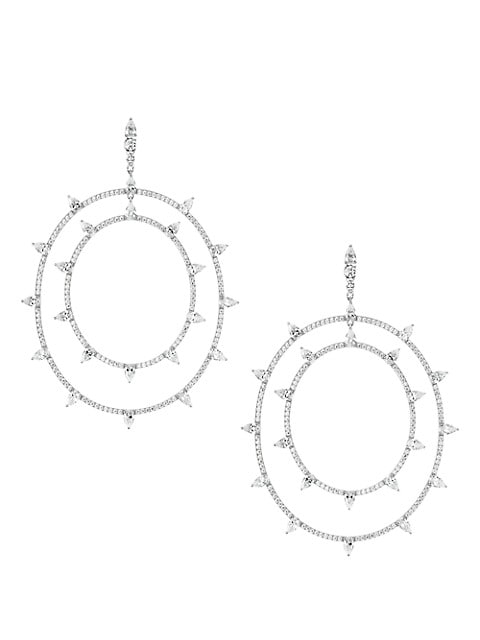 Rhodium-Plated & Cubic Zirconia Dual-Hoop Earrings