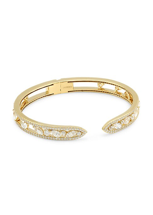 ONLY AT SAKS. Shimmering 18K goldplated openwork cuff sparkles and shines at every angle. Cubic zirconia 18K goldplated silver Hinge closure Imported SIZE Width, about 2.25\\\