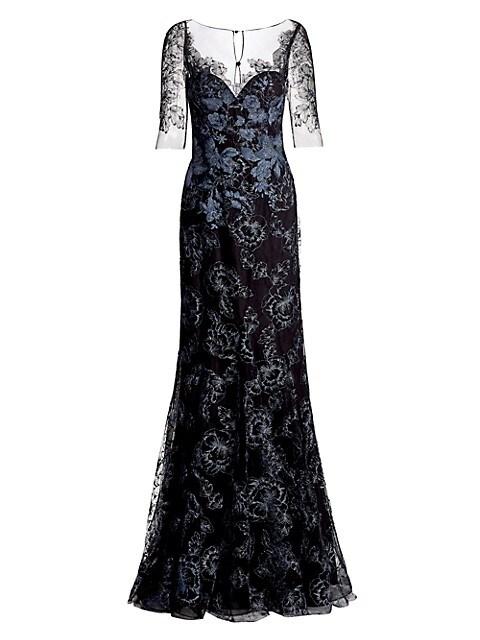 Lace Appliqué Tulle Gown