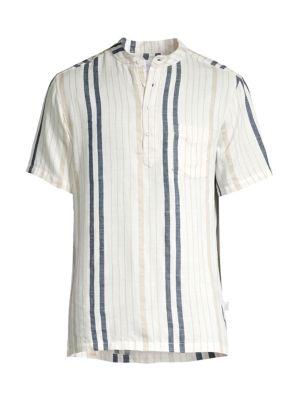 Onia T-shirts Anthony Stripe Linen-Blend Shirt