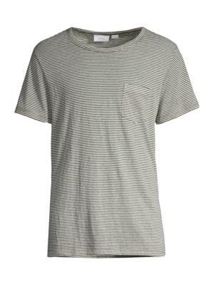 Onia Tops Chad Stripe Linen-Blend Tee