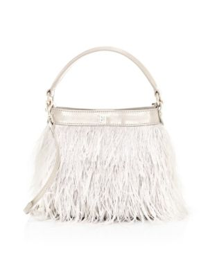 Eric Javits Women's Shindig Ostrich Feather Top Handle Bag In Taupe