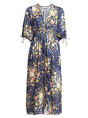 Zinnia Floral Linen Midi Dress by Zimmermann