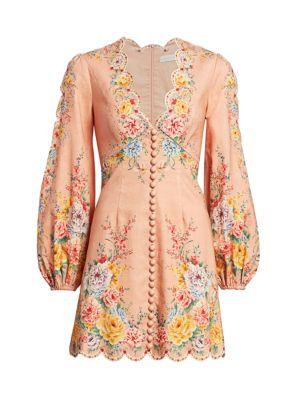 Zimmermann Dresses Zinnia Scalloped Puff-Sleeve Mini Dress
