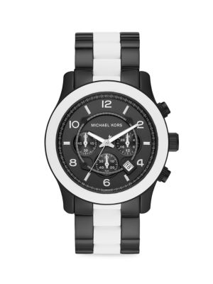Michael Kors Watches Runway Black & White Stainless Steel & Silicone Strap Chronograph Watch