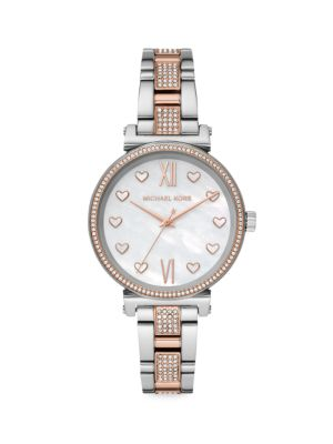 Michael Kors Watches Sofie Two-Tone Stainless Steel Pave Bracelet Watch
