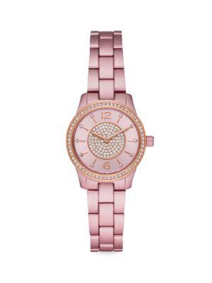 Michael Kors Watches Slim Runway Pink Aluminum Pavé Bracelet Watch