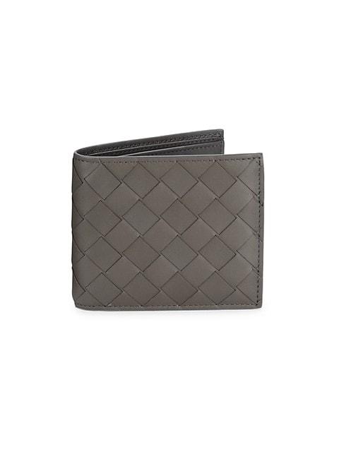 Woven Leather Billfold Wallet