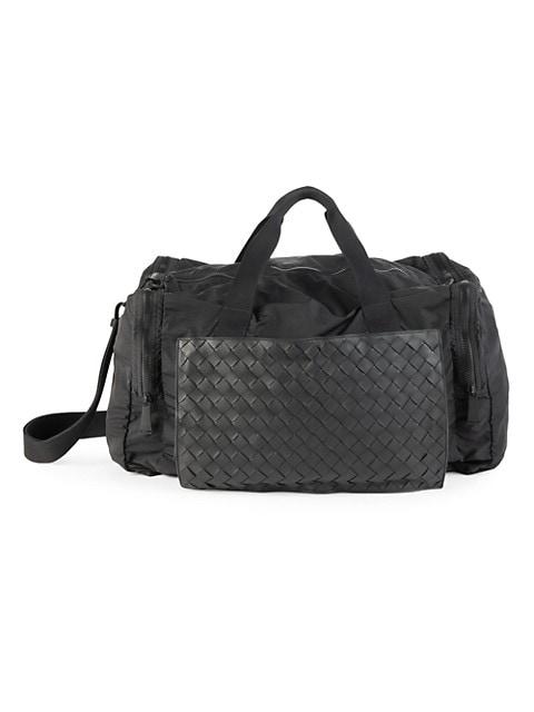 Leather & Nylon Packable Duffel Bag