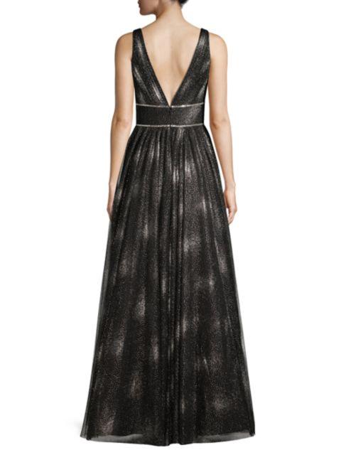 Basix Black Label A-Line V-Neck Gown | SaksFifthAvenue