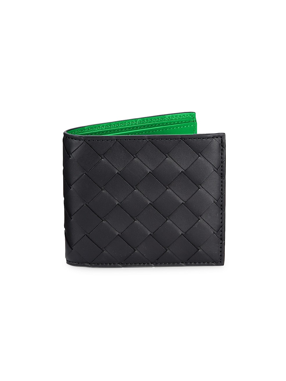 보테가 베네타 Bottega Veneta Intrecciato Leather Billfold Wallet,BLACK GRASS SILVER