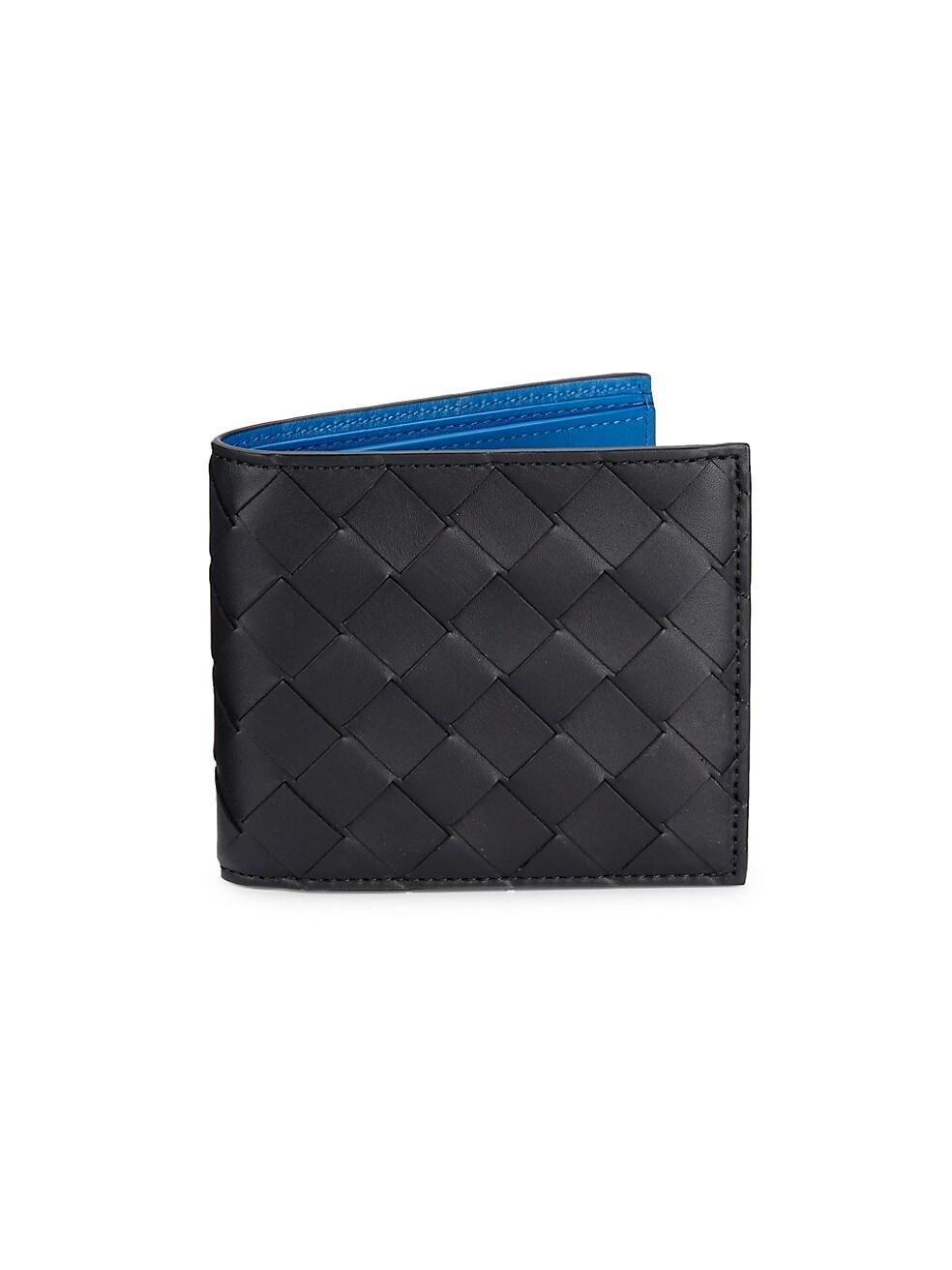 보테가 베네타 Bottega Veneta Intrecciato Leather Billfold Wallet,NERO BLUE