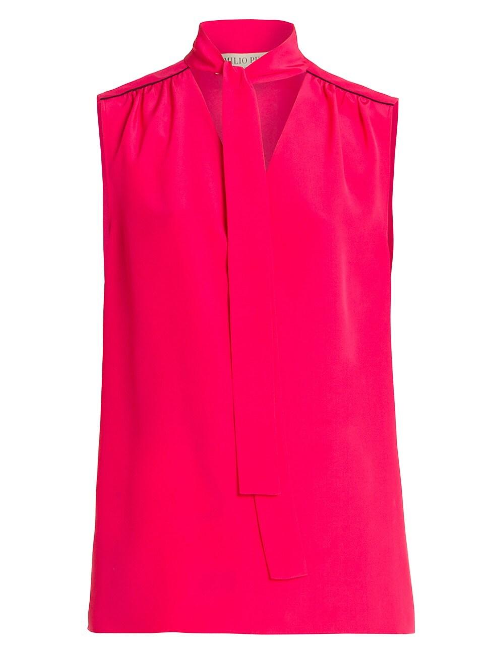 Emilio Pucci WOMEN'S TIE-NECK SILK CREPE DE CHINE BLOUSE
