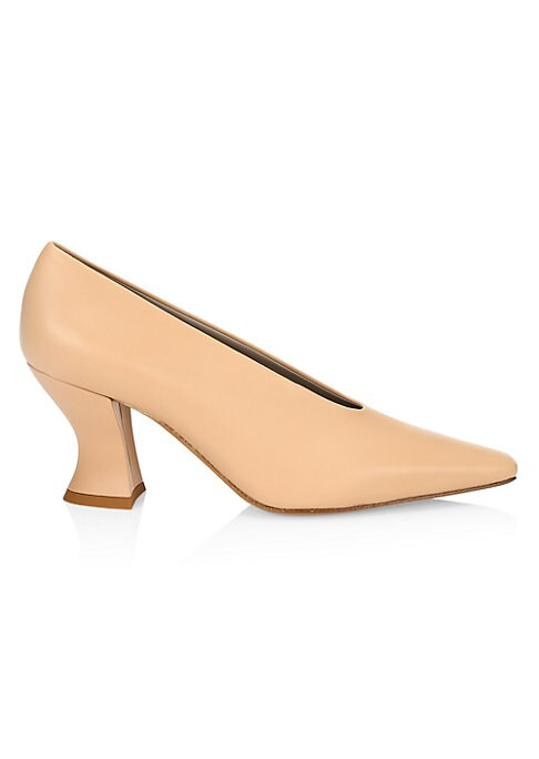 Sleek leather pumps with a curved block heel and a squared-off point toe. Leather upper Point toe Slip-on style Heel tab Leather sole Made in Italy SIZE Self-covered block heel, 3\\\