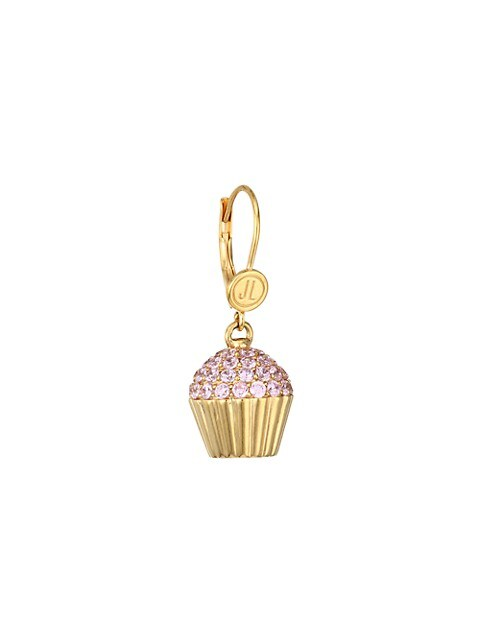14K Goldplated Sterling Silver & Cubic Zirconia Cupcake Single Drop Earring