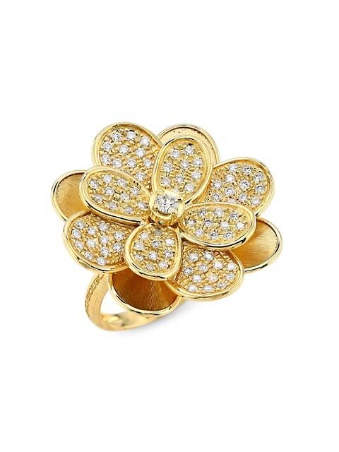 Petali 18K Yellow Gold & Diamond Pavé Medium Flower Ring