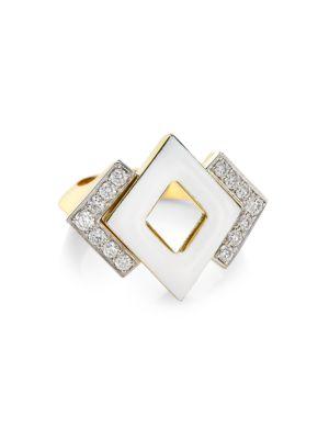David Webb Motif 18k Yellow Gold, White Enamel & Double Diamond Ring