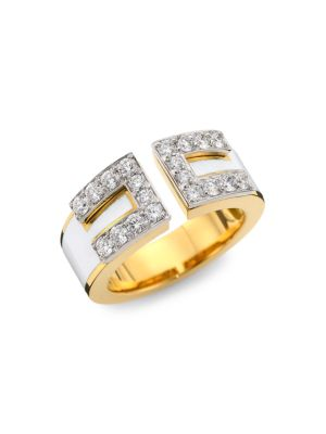 David Webb Motif 18k Yellow Gold, White Enamel & Diamond Gap Ring
