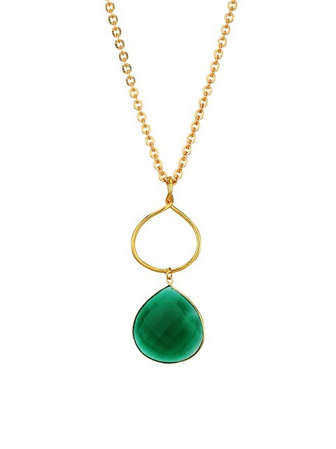 Eclipse 22K Goldplated & Green Onyx Pendant Necklace