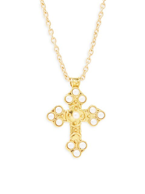 22K Yellow Goldplated & Cultured Pearl Cross Pendant Necklace