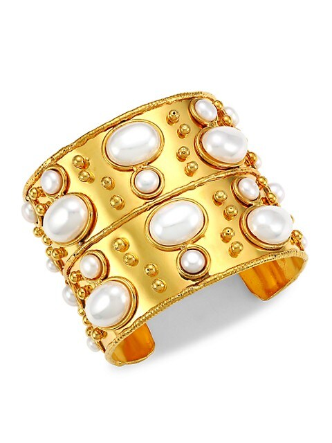 Byzance 22K Yellow Goldplated & Cultured Freshwater Pearl Cuff