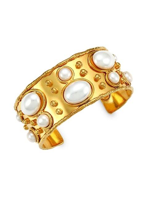 Byzance 22K Goldplated & Pearl Cuff Bracelet