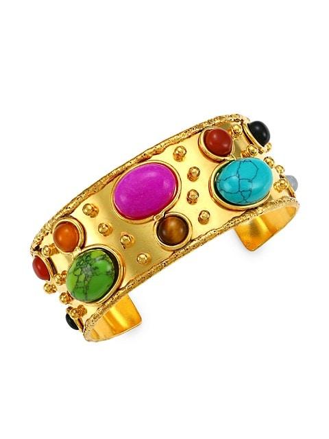 Byzance 22K Goldplated & Multi-Stone Cuff Bracelet