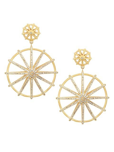 Maiko 22K Goldplated & Cubic Zirconia Double-Drop Umbrella Earrings