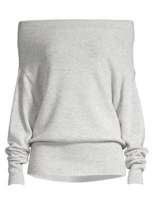 Brochu Walker Women's Lori Off-the-shoulder Cashmere Sweater In Cinder Grey Melange