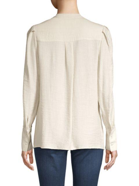 Brochu Walker Lena Textured Blouson Sleeve Blouse | SaksFifthAvenue
