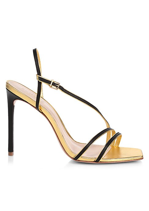 Edged with metallic trim, these leather sandals have a barely-there slingback stiletto silhouette. Leather upper Open toe Adjustable slingback strap Leather sole Imported SIZE Self-covered stiletto heel, 4\
