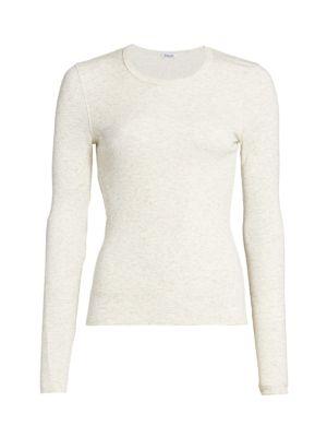 Splendid Women's Silverstar Sparkle Rib-knit Top In Off White