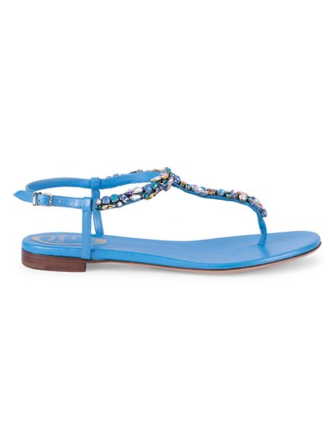 Diana Crystal-Embellished Satin & Leather T-Strap Sandals