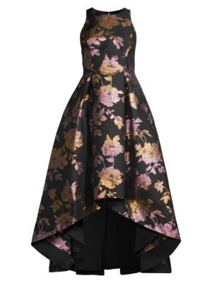 Aidan Mattox Women's Metallic Jacquard Hi-lo Dress In Black Multi