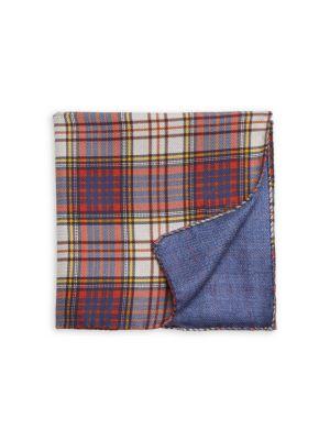 COLLECTION Plaid Silk Pocket Square