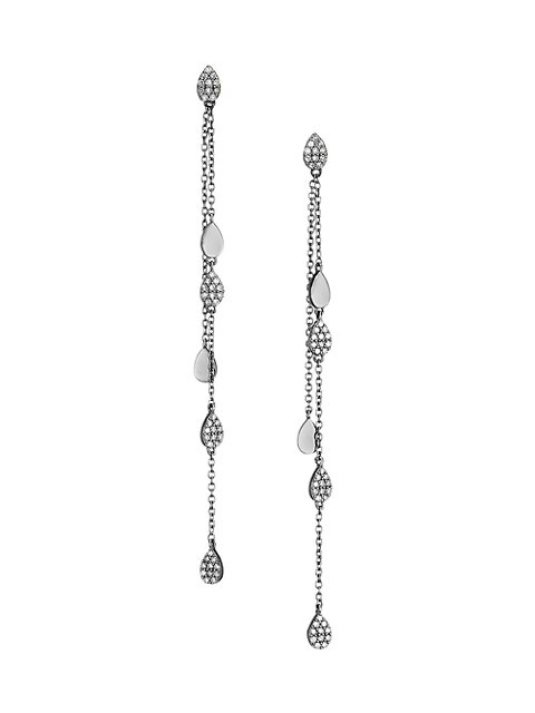 Black Rhodium-Plated & Diamond Disc Chain Drop Earrings