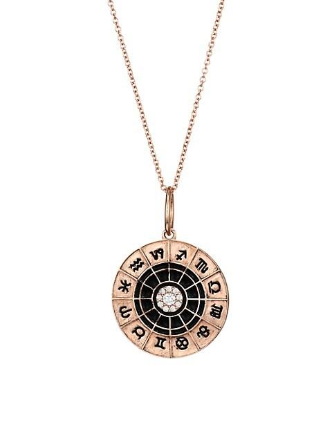 14K Rose Gold & Diamond Zodiac Wheel Pendant Necklace